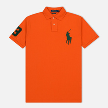Мужское поло Polo Ralph Lauren Big Logo Embroidered And Patch 3 Custom Slim Fit Sailing Orange фото- 0