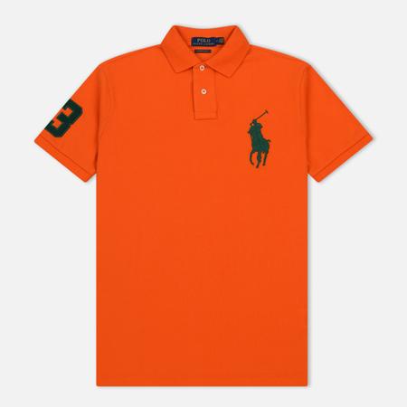 Мужское поло Polo Ralph Lauren Big Logo Embroidered And Patch 3 Custom Slim Fit Sailing Orange