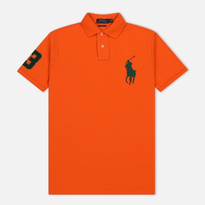 Мужское поло Polo Ralph Lauren Big Logo Embroidered And Patch 3 Custom Slim Fit Sailing Orange