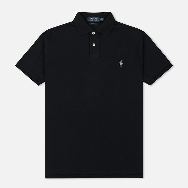 Мужское поло Polo Ralph Lauren Custom Slim Fit Cotton Mesh Black