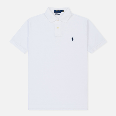 Мужское поло Polo Ralph Lauren Custom Slim Fit Cotton Mesh White