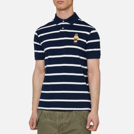 Мужское поло Polo Ralph Lauren Embroidered Bear Stripe Basic Mesh Cruise Navy/White