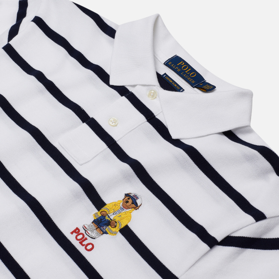 Мужское поло Polo Ralph Lauren Embroidered Bear Stripe Basic Mesh White/Cruise Navy