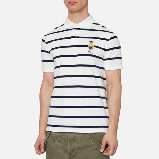 Мужское поло Polo Ralph Lauren Embroidered Bear Stripe Basic Mesh White/Cruise Navy