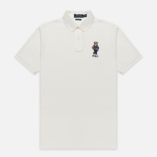 Мужское поло Polo Ralph Lauren Bear Ready Play Football In Polo Style Deckwash White
