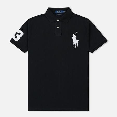 Мужское поло Polo Ralph Lauren Slim Fit Cotton Mesh Big Logo Black