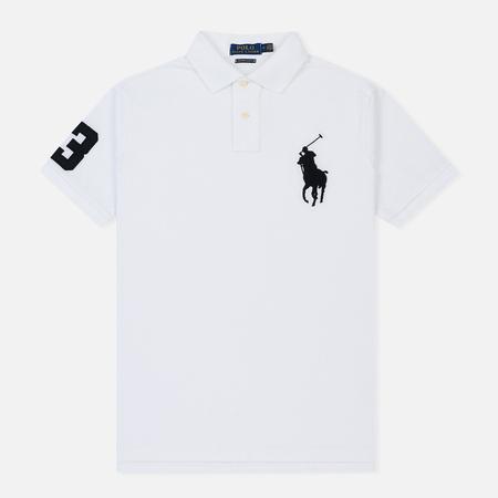 Мужское поло Polo Ralph Lauren Slim Fit Cotton Mesh Big Logo White