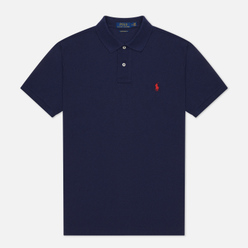 Мужское поло Polo Ralph Lauren The Iconic Basic Mesh Slim Fit Newport Navy/Red