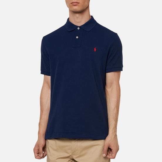 Мужское поло Polo Ralph Lauren The Iconic Basic Mesh Slim Fit Newport Navy/Red
