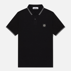 Мужское поло Stone Island Patch Program Slim Fit Black