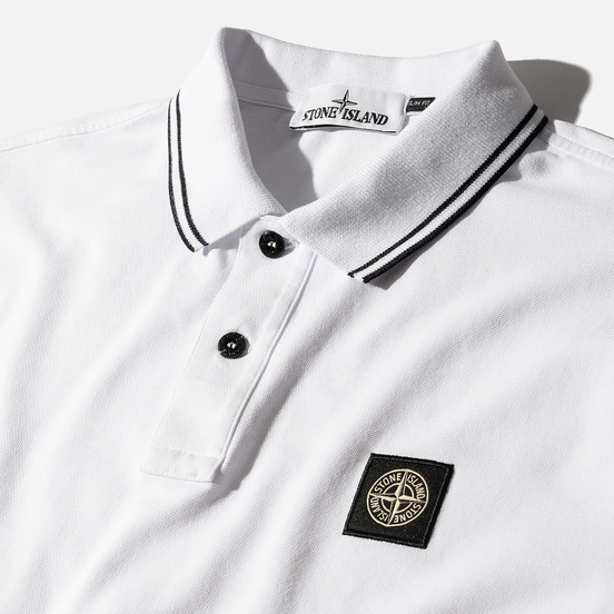 Мужское поло Stone Island Patch Program White/Navy