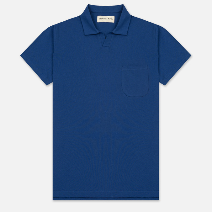 Мужское поло Universal Works Piquet Fine Piquet Cotton Royal Blue