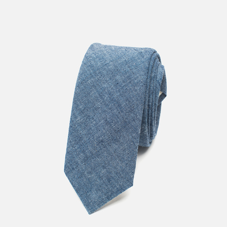 The Hill-Side Pointed Selvedge Chambray Men's Tie Indigo