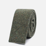 Мужской галстук The Hill-Side Square End Wool Blend Galaxy Tweed Olive фото- 0