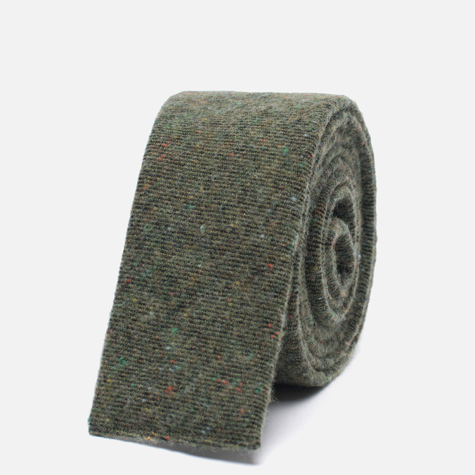 Мужской галстук The Hill-Side Square End Wool Blend Galaxy Tweed Olive