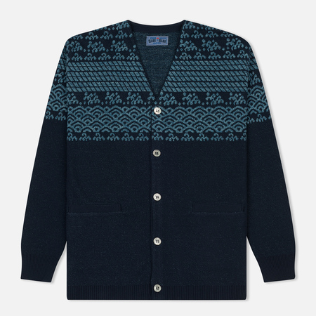 Мужской кардиган Blue Blue Japan J5584 Wave Design Jacquard Navy