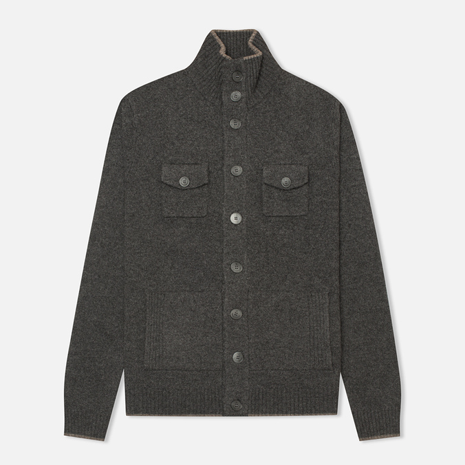 Мужской кардиган Hackett Lambswool Full Button Charcoal