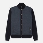 Мужской кардиган Hackett Tweed Wool Cashmere Navy фото- 0