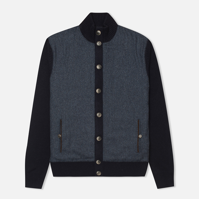 Мужской кардиган Hackett Tweed Wool Cashmere Navy