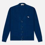 Maison Kitsune Lambswool Classic Men's Cardigan Blue photo- 0