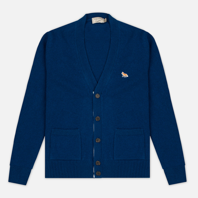 Maison Kitsune Lambswool Classic Men's Cardigan Blue