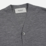 Мужской кардиган Pringle of Scotland Ribbed Trim V-Neck Grey Melange фото- 1