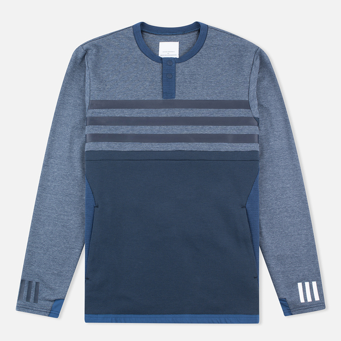 Мужской лонгслив adidas Originals x White Mountaineering Henley Neck Night Navy/Indigo/Marine