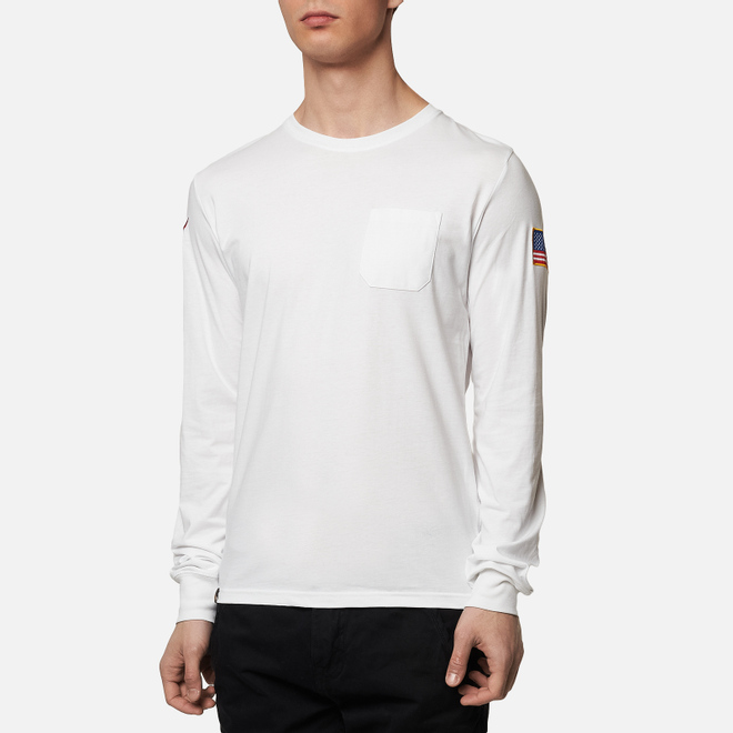 Мужской лонгслив Alpha Industries Nasa LS White
