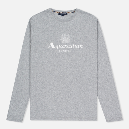 Aquascutum Griffin Crew Neck LS Logo Men's Longsleeve Grey Marl
