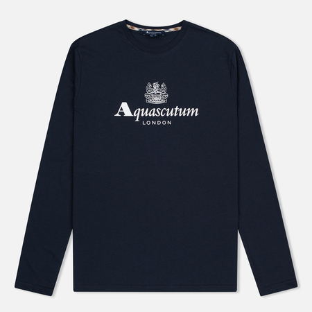Aquascutum Griffin Crew Neck LS Logo Men's Longsleeve Navy