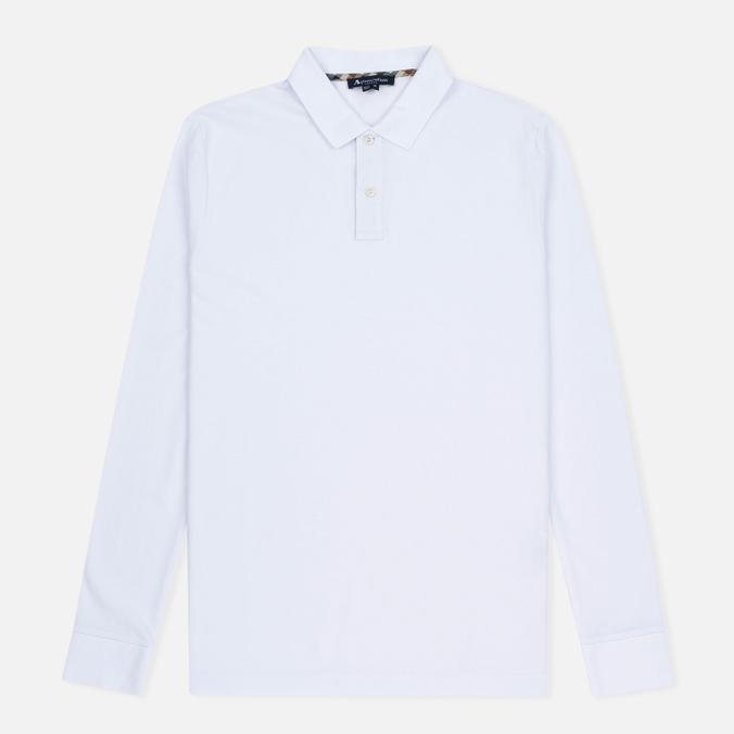 Aquascutum Hilton LS Pique Polo Men's Longsleeve White
