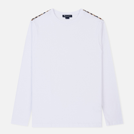 Мужской лонгслив Aquascutum Southport Club Check Shoulder White