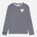 Мужской лонгслив Billionaire Boys Club Damage Stripe LS White/Navy фото- 0