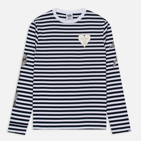Мужской лонгслив Billionaire Boys Club Damage Stripe LS White/Navy