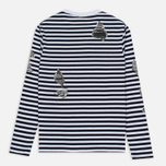 Мужской лонгслив Billionaire Boys Club Damage Stripe LS White/Navy фото- 4