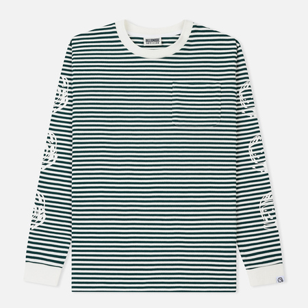 Мужской лонгслив Billionaire Boys Club Small Stripe Green/White
