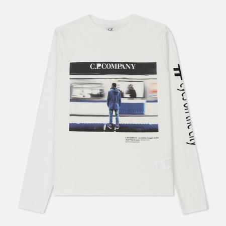 Мужской лонгслив C.P. Company Eyesonthecity Front Print Washed Tapioca White
