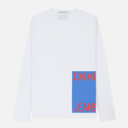 Мужской лонгслив Calvin Klein Jeans Block Print Logo White/Surf The Web