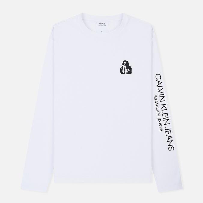 Мужской лонгслив Calvin Klein Jeans Est. 1978 Modernist Logo Bright White/Fist Lad
