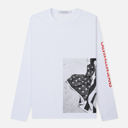 Мужской лонгслив Calvin Klein Jeans USA Flag Printed Bright White