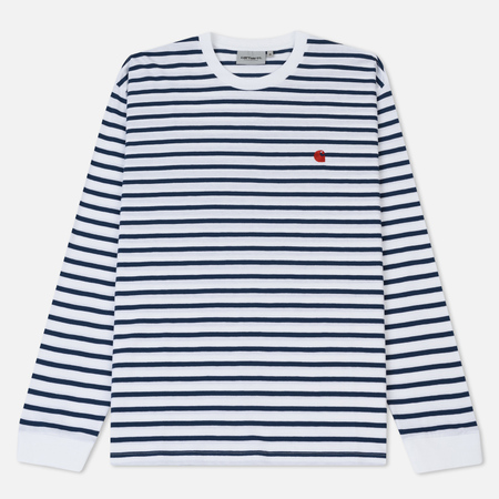 Мужской лонгслив Carhartt WIP Champ Stripe Blue/White/Goji