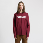 Мужской лонгслив Carhartt WIP College Graphic Print Mulberry/White фото- 1
