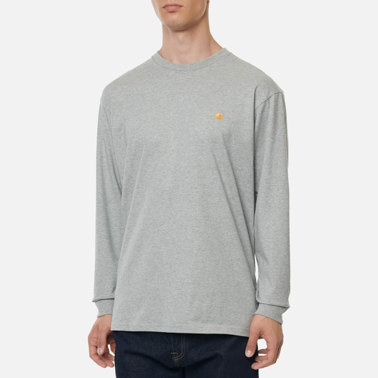 Мужской лонгслив Carhartt WIP L/S Chase Grey Heather/Gold