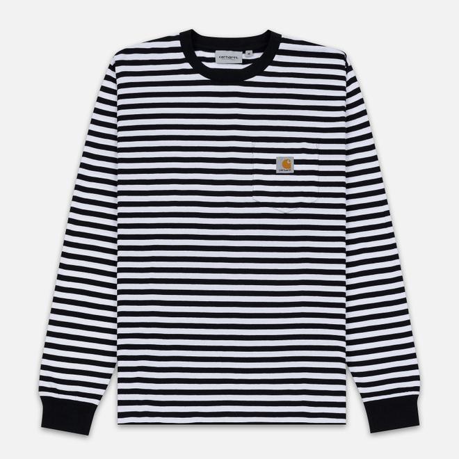 Мужской лонгслив Carhartt WIP L/S Haldon Pocket Stripe Black/White