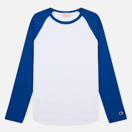 Champion Reverse Weave 2 Tone Baseball Men's Longsleeve Royal Blue/White