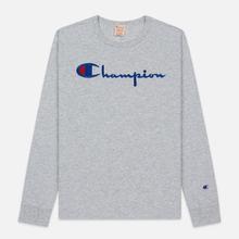Мужской лонгслив Champion Reverse Weave Big Script Crew Neck Light Grey фото- 0