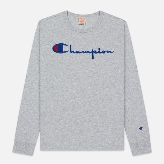 Мужской лонгслив Champion Reverse Weave Big Script Crew Neck Light Grey