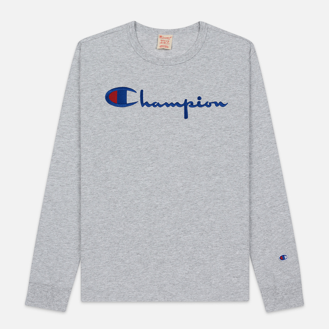 Мужской лонгслив Champion Reverse Weave Big Script Crew Neck Light Grey