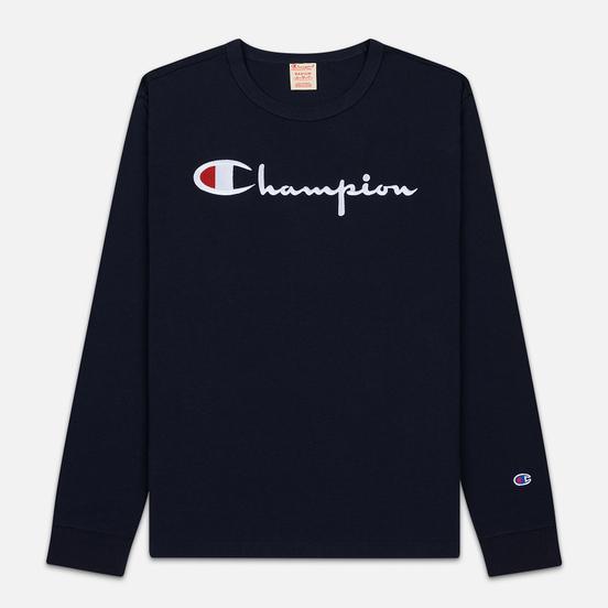 Мужской лонгслив Champion Reverse Weave Big Script Crew Neck Navy