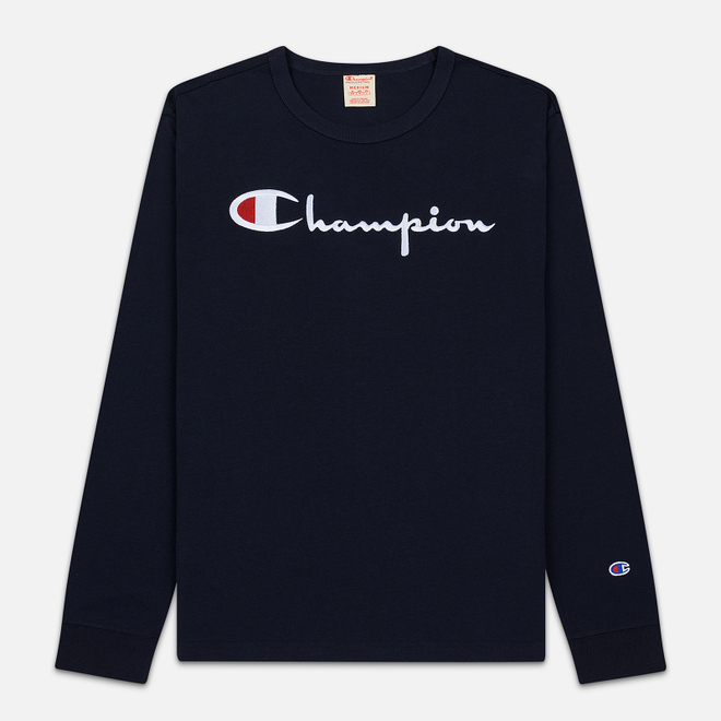 Мужской лонгслив Champion Reverse Weave Big Script Crew Neck Navy